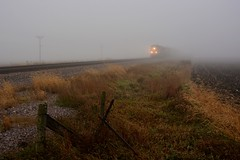 Kinda Foggy (Theresa*) Tags: fog train unionpacific westbound maplepark illinois track sunday farm fence cold winter nosnow nikond7100
