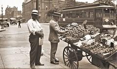Fruit Vendor, Washington DC ca1922 LOC31307u (SSAVE w/ over 6.5 MILLION views THX) Tags: fruitvendor pushcart streetscene washingtondc 1922 strawhats trolleycar trolley