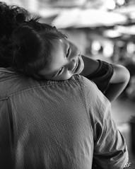 The shoulder of a Dad ! (poupette1957) Tags: art atmosphre black birmanie canon city curious children humanisme imagesingulires market life lovers monochrome man noiretblanc noir photographie people portrait rue street town travel urban ville voyage