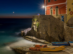 Boat Ramp, Riomaggiore (Erik Pronske) Tags: watching crescent water italy riomaggiore boats evening town sea looking man ramp australia newsouthwales sydney woman rocks architecture cinqueterre colors village liguriansea mediterranean liguria it