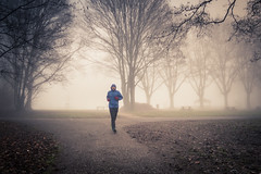Running in the mist / Le coureur dans la brume... (Gilderic Photography) Tags: liege grivegnee belgium belgique belgie woods forest running runner man sport mist fog brume brouillard morning cold canon g7x gilderic