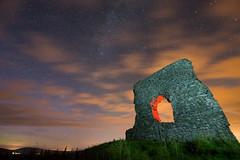 Lighting the arch ([ Jaso ]) Tags: castle 30 night shower scotland ancient long exposure aberdeenshire angle pentax fort wide sigma meteorite insch k3 dunnideer nomoon meteorshower perseid perseidshower k3ii ukshower