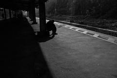 on the platform 1 (RadarO´Reilly) Tags: street railroad bw station blackwhite perron platform eisenbahn railway bahnhof tags sw bahn bahnsteig schwarzweis strase