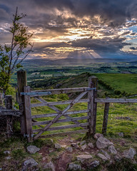 View through the gate, Mid Wales (christaff1010) Tags: uk sky sun sunlight green wales clouds landscape shropshire unitedkingdom britain hills powys priestweston