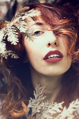 Aries (Heather-B) Tags: red portrait nature photomanipulation self hair photography ginger photo leaf model mood moody photographer photoshoot dream portrt lips redhead portraiture dreamy redhair