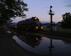 Rush Reflection (GLC 392) Tags: life railroad sunset ny west reflection water station clouds port puddle lights evening amazing search twilight time metro awesome north signals rush engines depot mta nights hudson mbta 4900 fleet jervis borrowed the 4905 emd of mncr gp40fh2