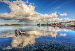 Fisherman (Nejdet Duzen) Tags: trip travel sea vacation holiday reflection turkey boat fishing fisherman cloudy trkiye deniz iskele sandal izmir tatil yansma turkei seyahat urla balk bulutlu