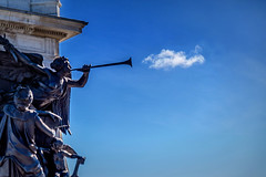 the trumpet shall cloud (le cabri) Tags: cloud statue bronze quebec trumpet bluesky champlain dufferin quebeccity frontenac samueldechamplain terrassedufferin frontenaccastle paulchevré thetrumpetshallsound thetrumpetshallcloud