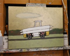 Work-In-Progress | November 16, 2015 (steveartist) Tags: paintings artmaterials acrylics easels whimsicalart smallworks smallpaintings stevefrenkel goldenopenacrylics whimsicalvehicles lgescape2