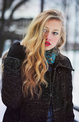 Angelina (valeriabliok) Tags: park blue trees winter urban snow nature girl beauty hair eyes colorful blond redlips curlyhair