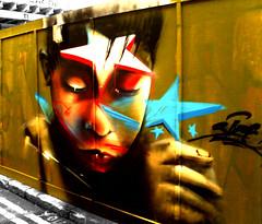 Face (Draopsnai) Tags: urban streetart face graffiti star shoreditch fencing hackney
