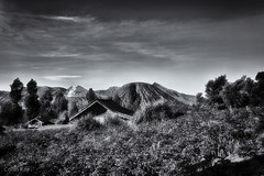 volcanoes in my backyard (Collin Key) Tags: bw mountains indonesia landscape volcano java idn mountbromo seaofsand mountsemeru cemorolawang tenggercaldera mountbatok