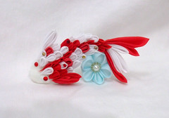 DSCF6924 (EruwaedhielElleth) Tags: fish flower hair japanese fabric hana koi folded accessory tsumami kanzashi zaiku imlothmelui