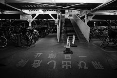 Day 281/366 : Warning Sign (hidesax) Tags: 281366 warningsign   night bicycle bike parking lights bw ageo saitama japan hidesax sony a7ii leica elmaritr 28mm f28 366project2016 366project 365project