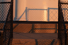 Fence and Shadow-Explored 10/21/16 (gerilynns) Tags: buglighthouse maine sunset water ocean rocks steps