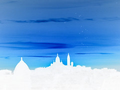 (C-47) Tags: paris skyline shadows sky clouds blue 1001nights colors sacrcoeur sunset ambiance creation oriental atmoshpere white negative effects