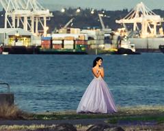 "Lady Doing Bridal Posing Against Port of Seattle & Elliott Bay in ""Kodachrome"" (AvgeekJoe) Tags: d5300 dslr elliottbay kodachrome nikon nikond5300 places portofseattle seattle westseattle lady water woman washington unitedstates us"