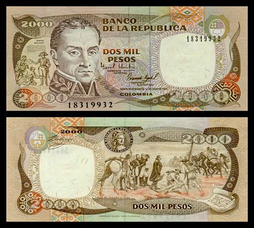 (COP9a) 1994 Colombia, Banco de la República, Dos Mil Pesos, (A/R)...