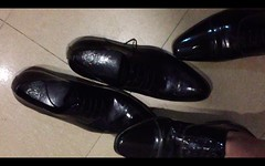 Dress shoes vs dress shoes - 1 (muddy-suit) Tags: shoes patent leather trampling abuse fetish shoe stomping