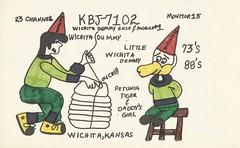 Wichita Dummy & Little Wichita Dummy - Wichita, Kansas (73sand88s by Cardboard America) Tags: qsl cb cbradio vintage qslcard kansas idiot
