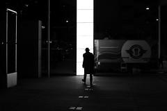 By crossing the light (pascalcolin1) Tags: paris13 nuit night homme man chapeau hat lumire light crossing traversant reflets reflection photoderue streetview urbanarte noiretblanc blackandwhite photopascalcolin