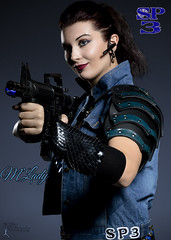 Sucker Punched 3 - M'lady (FightGuy Photography) Tags: sabreena rifle weapon warriorwoman womenwithweapons badass brunette m4 gun armor leatherarmor pauldron scalemail denim suckerpunched fightguyphotography