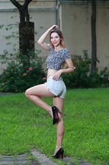 DP1U4723 (c0466art) Tags: beautiful germany girl  sarah west purw white skin tall slim hot short pants long legs small waist nice figure sweet smile lovely elegant pose natural action charming gorgeous outdoor portrait light canon 1dx c0466art