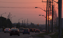 Morning Commute (ImageReform) Tags: city sun cars sunrise traffic powerlines wires