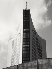 Uniriese (Tino S) Tags: blackandwhite architecture skyscraper germany deutschland blackwhite saxony leipzig sachsen architektur hochhaus uniriese weisheitszahn schwarzweis panoramatower leipzigcity