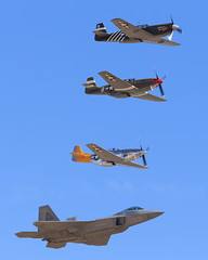 "Heritage Flight: P-51A ""Mrs. Virginia"", P-51C ""Boise Bee"", P-51D ""Spam Can"", F-22 Raptor (Norman Graf) Tags: california plane airplane virginia airport fighter spam aircraft wwii can bee boise airshow raptor stealth f22 mustang dolly mrs usaf ot warbird usairforce chino cno p51 p51d northamerican p51a heritageflight 5thgeneration p51c f22a kcno calaerofield fifthgeneration lockheedmartinboeing n4651c 044068 436251 n4235y 472861 4325057 4472861 nl544iv 2015planesoffameairshow"