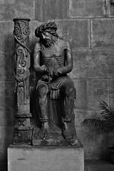 6 - Metz Cathdrale Saint-Etienne Statue, Christ prs de la colonne de la flagellation (melina1965) Tags: blackandwhite bw sculpture statue nikon noiretblanc july statues lorraine juillet sculptures metz moselle 2015 d80