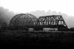Carrie Furnace Hot Metal Bridge (Sky Noir) Tags: railroad bridge urban blackandwhite bw monochrome river nikon pittsburgh steel transport mills across artifact blast rolling monongahela molten truss furnaces d600