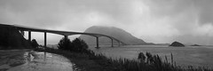 let's venture out into the misty unknown! (lunaryuna) Tags: bridge autumn sky bw panorama mist fall monochrome rain weather norway season islands blackwhite mood lunaryuna lofoten lofotenislands bridgingthegap northernnorway seastrait norwegiansea fhord lofotenarchipelago gimsoystraumenbru autumnabovethearcticcircle