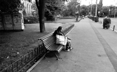 """Another day in paradise"" (blueP739) Tags: poverty park bw home bench homeless pussy streetphotography olympus romania capitalism bucharest om1 om3 olympusom om4 om2n om1n om3ti rodinalr09 plustek7200 communisum"