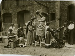 Making garlands for a Womens Social & Political Union (WSPU) rally, 1910.