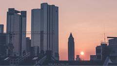 Messeturm sunset (Frankfurt) (Niklas W.) Tags: city roof sunset sun building skyline skyscraper canon germany deutschland eos europa europe crane outdoor frankfurt eu roofs german messe mainhatten metropole 1k ffm messeturm twon