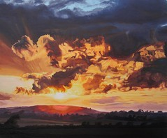 Midsummer Golden Sunset (niall mccarthy) Tags: ireland sunset irish sun sunlight art clouds painting fire golden acrylic glow shadows midsummer acrylics fiery realism realistic shadowy