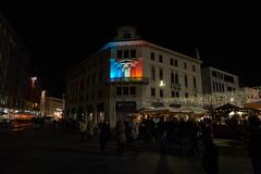 Piazza XX Settembre Pordenone - Italy (Claudio IT) Tags: italy square italia piazza natale francia dicembre notturna friuli pordenone bandiera 2015 bancarelle francese piazzaxxsettembre zeiss1670mm palazzocassetti
