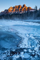 Castle Mountain on New Year's Day (Mister The Plague) Tags: castlemountain river alberta mountain improvementdistrictno9 canada ca landscape winter time formations weather snow banffnationalpark seasons morning sunrise typeofphotography location objects ice