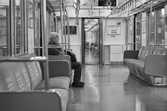 AT MY FAR LEFT (ajpscs) Tags: ajpscs japan nippon  japanese  tokyo  nikon d750 streetphotography street summer shitamachi monochromatic grayscale monokuro blackwhite blkwht bw blancoynegro train old oldage atmyfarleft