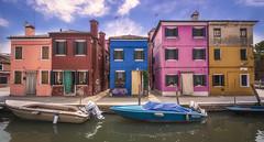 Burano (olemoberg) Tags: burano venice venezia italy italia houses canal boats colourful