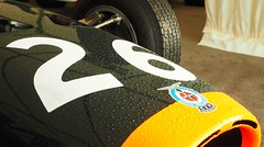 BRM P261 detail at Castle Combe (Hammerhead27) Tags: view olympus auto car racing f1 castlecombe detail front nose green orange dentist droplet water rain 26 p261 brm