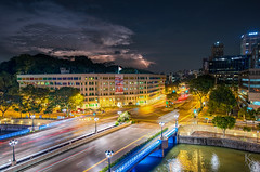 Old Hill Street Police Station and Thunder, Singapore (KSAG Photography) Tags: thunder lightning storm urban thunderstorm october city cityscape singapore asia southeastasia longexposure hdr weather clouds architecture colour building road bridge river travel adventure