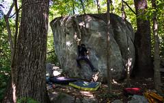 Effy working this fun V3/4 at Rumbling Bald (drewmercer) Tags: rock climbing rockclimbing bouldering northcarolina rumblingbald rumbling bald women sharpend nature outdoor outdoors craggin