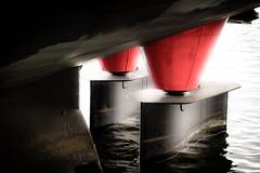 Getting on the right course (vale0065) Tags: ship schip boat boot water rudder roer red rood kleur collor colour canal kanaal fuji xe1 belgi belgium flanders vlaanderen limburg laakdal kwaadmechelen tessenderlo hull romp tranportation transport albertkanaal