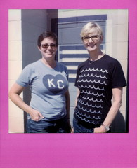We're not in Kansas anymore (tobysx70) Tags: the impossible project tip polaroid slr680 frankenroid sx70 door rollers color film for 600 type cameras colorframesedition frames edition pink impossaroid werenotinkansasanymore denton camera exchange piner street texas tx anne leslie woman women friends portrait kc tshirt polacon2016 polaconone 100216 toby hancock photography