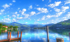 A day at the lake (michelecarbone900) Tags: lake water sonydschx50 blue sky clouds landscape lago paint hdr