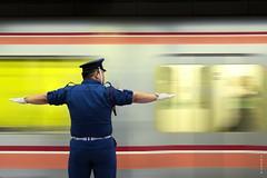 Halt...  ! (Fabdub) Tags: urban japan speed underground subway tokyo asia metro background interior empty symmetry explore  nippon  straight japon nihon toei longshot tokyometro pasmo  explored   megashot smcpentaxda1770mmsdm pentaxk3