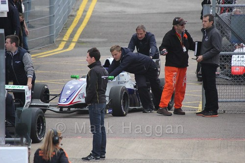 Jake Hughes Koiranen GP car heading to the grid for the first Renault 2.0 race at Silverstone 2015
