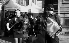 Edinburgh Fringe on the Mile 2015 0106 (byronv2) Tags: street blackandwhite bw musician music woman man sexy girl monochrome blackwhite edinburgh pretty candid fringe accordion violin blonde royalmile busker performer oldtown edinburghfestival busking violinist peoplewatching edimbourg edinburghfringe edinburghfestivalfringe fringe2015 edinburghfestivalfringe2015 edinburghfringe2015